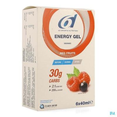 6D SIXD ENERGY GEL RED FRUITS 6X40ML