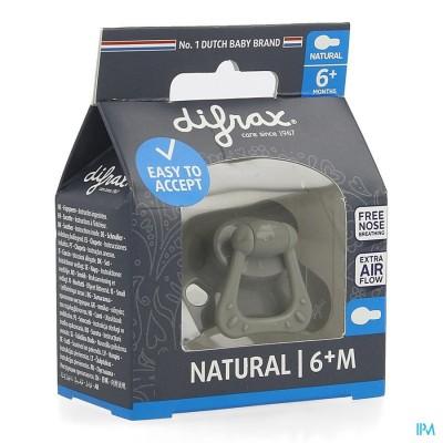 Difrax Fopspeen Natural 6m+ Uni/pure Grijs/clay
