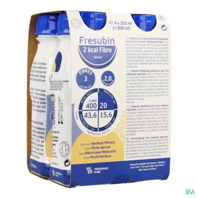 FRESUBIN 2KCAL FIBRE DRINK ABRIK-PERZ.EASY 4X200ML