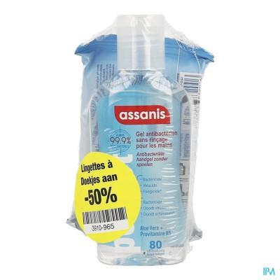 Assanis Pocket Gel 80ml +doekjes 12 1/2 Prijs