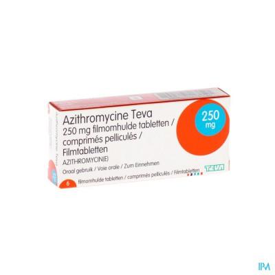 Azithromycine 250mg Teva Tabl Omhulde 6x250 mg