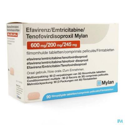 Efavirenz/emtric./tenof. Mylan 600/200/245mg 3x30