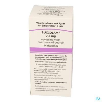 Buccolam 7,5mg Or Opl 4 Voorgev Dos Spuit 1,5ml